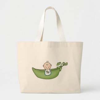 Baby in Pea Pod Blue Large Tote Bag