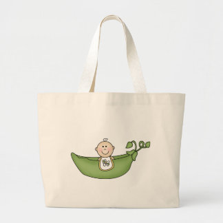 Baby in Pea Pod Large Tote Bag