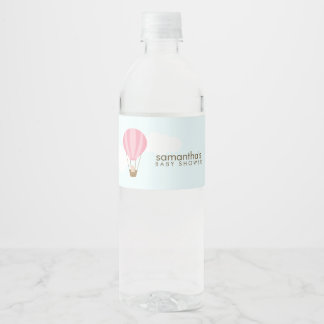 Baby in Pink Hot Air Balloon Water Bottle Label