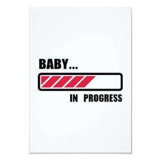 "Baby in progress loading 3.5"" x 5"" invitation card"