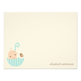 Baby in Umbrella Baby Shower Flat Thank You Cards Personalized Invitations
