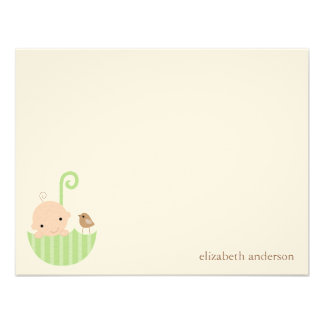Baby in Umbrella Custom Flat Thank You Cards Announcements