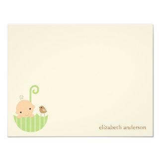 Baby in Umbrella Custom Flat Thank You Cards 11 Cm X 14 Cm Invitation Card