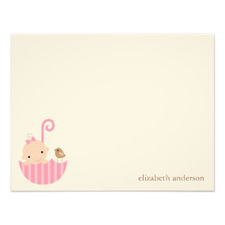 Baby in Umbrella Custom Flat Thank You Cards Personalized Invite