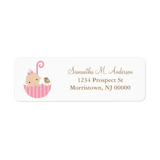 Baby in Umbrella Return Address Labels