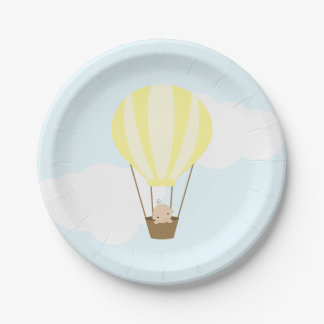 Baby in Yellow Hot Air Balloon Baby Shower Paper Plate