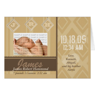 Baby Initials Birth Announcement Cards