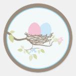 Baby Invitation or Favour Sticker - Twin Eggs