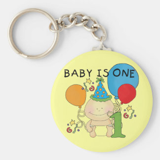 Baby is One  Tshirts and Gifts Basic Round Button Key Ring