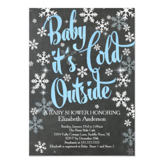 Baby It's Cold Chalkboard Blue Boys Baby Shower Card