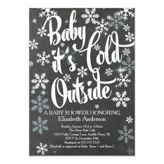 Baby It's Cold Chalkboard Neutral Baby Shower 13 Cm X 18 Cm Invitation Card