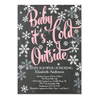 Baby It's Cold Chalkboard Pink Girls Baby Shower Card