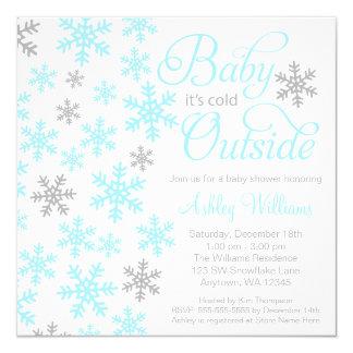 Baby It's Cold Outside Aqua Gray Baby Shower 13 Cm X 13 Cm Square Invitation Card