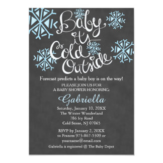 Baby It's Cold Outside Baby Boy Shower Invitation