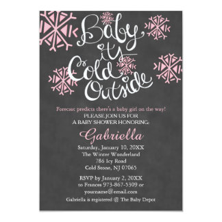 Baby It's Cold Outside Baby Girl Shower Invitation