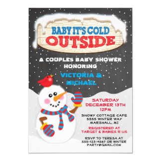Baby it's cold outside baby shower 13 cm x 18 cm invitation card
