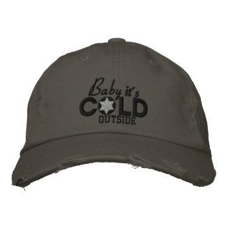 Baby It's Cold Outside Black And White Embroidered Baseball Cap