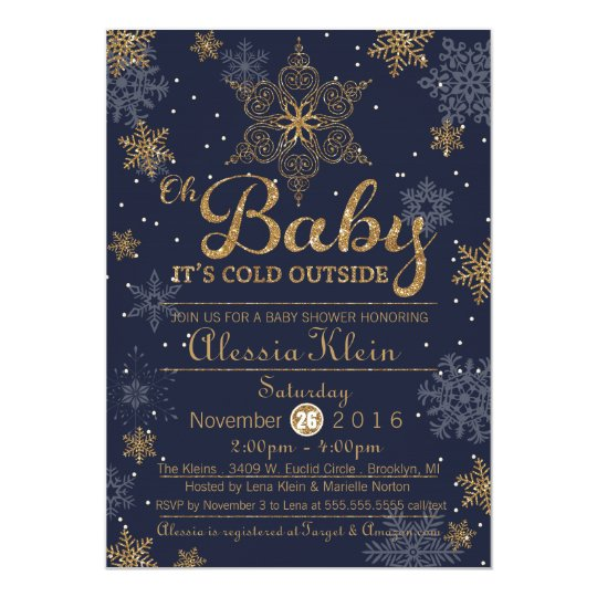 Baby It's Cold Outside, blue boy Shower Invitation