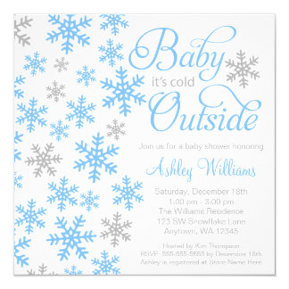 Baby It's Cold Outside Blue Gray Baby Shower 13 Cm X 13 Cm Square Invitation Card