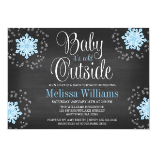 Baby It's Cold Outside Blue Snowflakes Baby Shower 13 Cm X 18 Cm Invitation Card