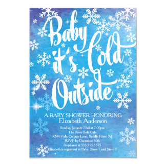 Baby It's Cold Outside Boys Winter Baby Shower Card