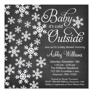 Baby It's Cold Outside Chalkboard Baby Shower 13 Cm X 13 Cm Square Invitation Card