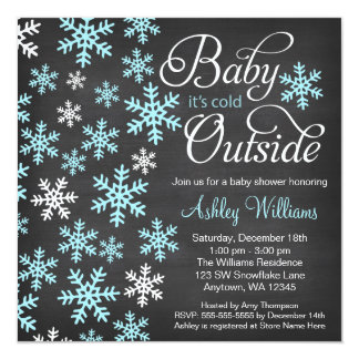 Baby It's Cold Outside Chalkboard Blue Baby Shower 13 Cm X 13 Cm Square Invitation Card