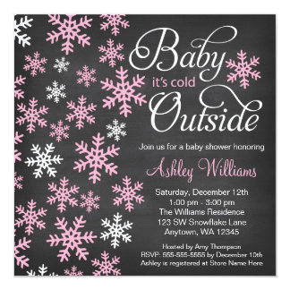 Baby It's Cold Outside Chalkboard Pink Baby Shower 13 Cm X 13 Cm Square Invitation Card