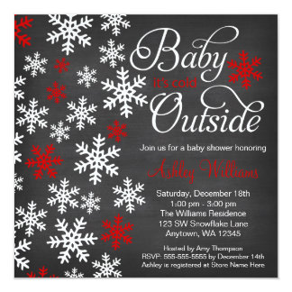 Baby It's Cold Outside Chalkboard Red Baby Shower 13 Cm X 13 Cm Square Invitation Card