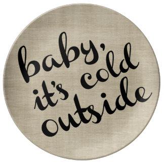Baby It's Cold Outside Chalkboard Winter Plate