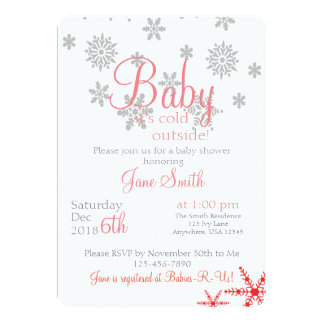 Baby its cold outside Coral Snowflake Card