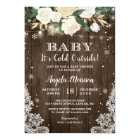 Baby Its Cold Outside Floral Rustic Baby Shower Card
