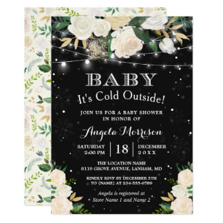 Baby It's Cold Outside Floral Winter Baby Shower Card