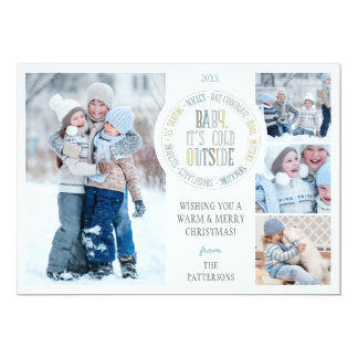 Baby It's Cold Outside Fun Winter Holiday Photo 13 Cm X 18 Cm Invitation Card