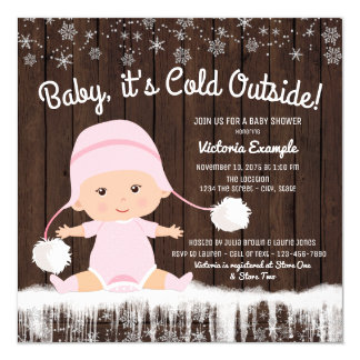 Baby its Cold Outside Girl Baby Shower Invitation