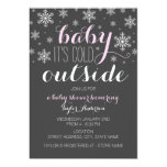 Baby it's Cold Outside - Girl Baby Shower Invite 13 Cm X 18 Cm Invitation Card