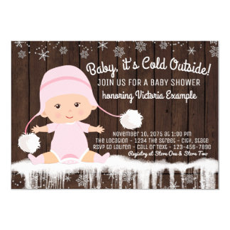 Baby its Cold Outside Girls Baby Shower Invitation
