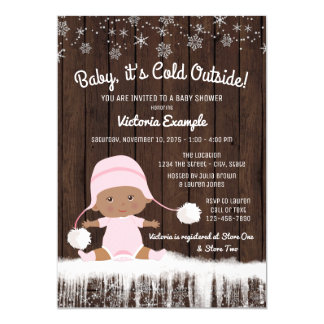 Baby its Cold Outside Girls Winter Baby Shower Card