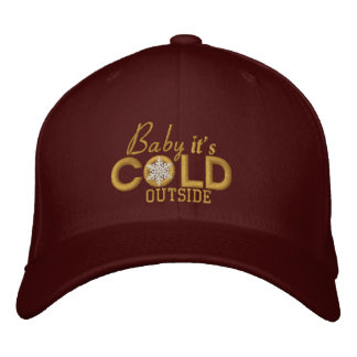 Baby It's Cold Outside Golden Snowflake Embroidered Cap