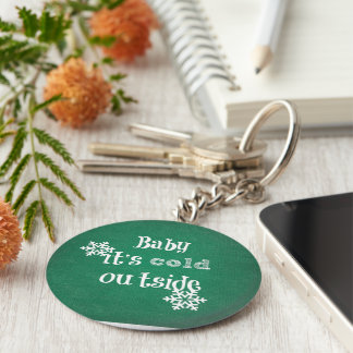 Baby it's Cold Outside: Green Faux Sweater Basic Round Button Key Ring