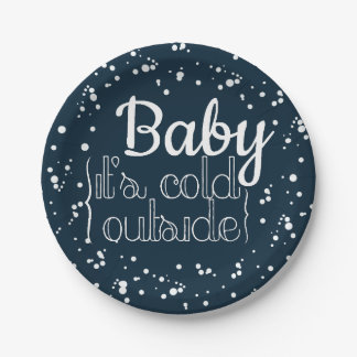 Baby, It's Cold Outside | Holiday Party Plates 7 Inch Paper Plate