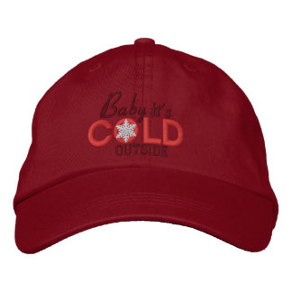 Baby It's Cold Outside Lovers Red Embroidered Baseball Cap