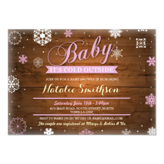 Baby It's Cold Outside Pink Baby Shower Invite