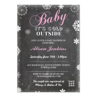 Baby Its Cold Outside Pink Girl Baby Shower Invite