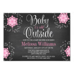 Baby It's Cold Outside Pink Snowflakes Baby Shower 11 Cm X 16 Cm Invitation Card