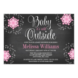 Baby It's Cold Outside Pink Snowflakes Baby Shower 13 Cm X 18 Cm Invitation Card