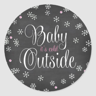 Baby It's Cold Outside Pink Snowflakes Baby Shower Round Sticker