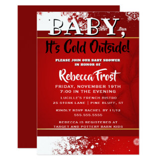 Baby Its Cold Outside Red Snowflakes Winter Shower Card