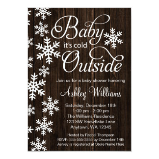 Baby It's Cold Outside Rustic Wood Baby Shower 11 Cm X 16 Cm Invitation Card