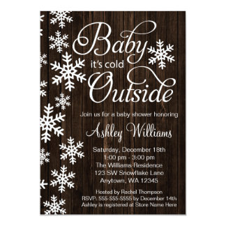 Baby It's Cold Outside Rustic Wood Baby Shower 13 Cm X 18 Cm Invitation Card